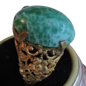 Peking Glass Ring Brass Vintage Art Deco Ornate